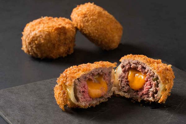 """Луковые кольца с мясом и сыром """"Улетный чизбургер"""""""