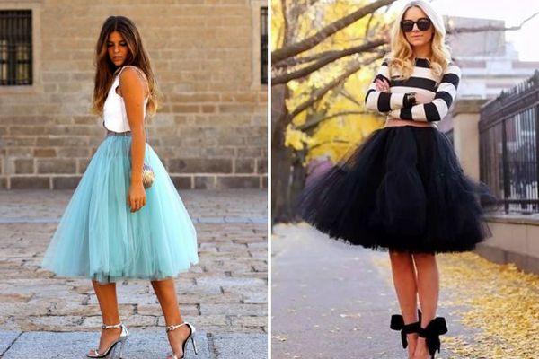 С чем носить юбку из фатина
